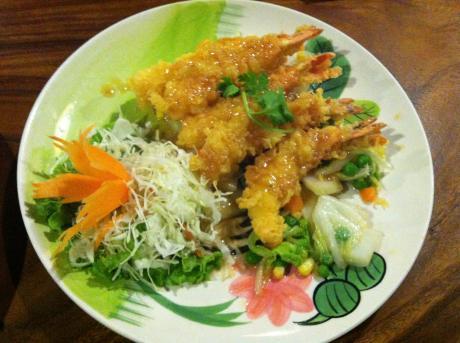 熱帯食堂揚げ海老のガーリックソース