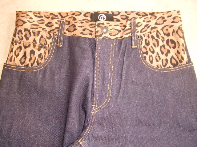 DOARAT COMBINATION DENIM PANTS LEOPARD FT1