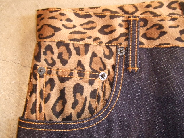 DOARAT COMBINATION DENIM PANTS LEOPARD FTPT