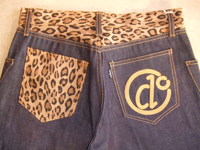 DOARAT COMBINATION DENIM PANTS LEOPARD BK