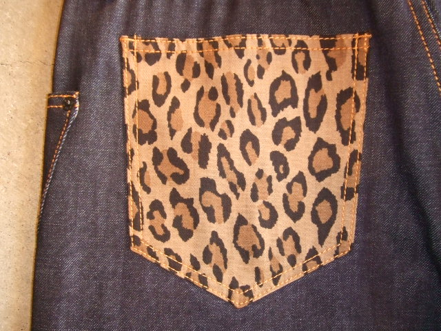 DOARAT COMBINATION DENIM PANTS LEOPARD BK PT1