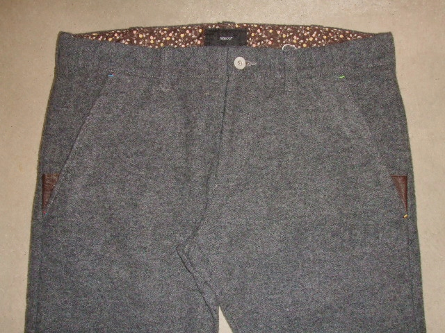 rehacer POINT LEATHER WOOL TROUSERS  GRAY FT1