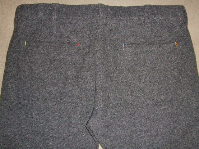rehacer POINT LEATHER WOOL TROUSERS GRAY BK