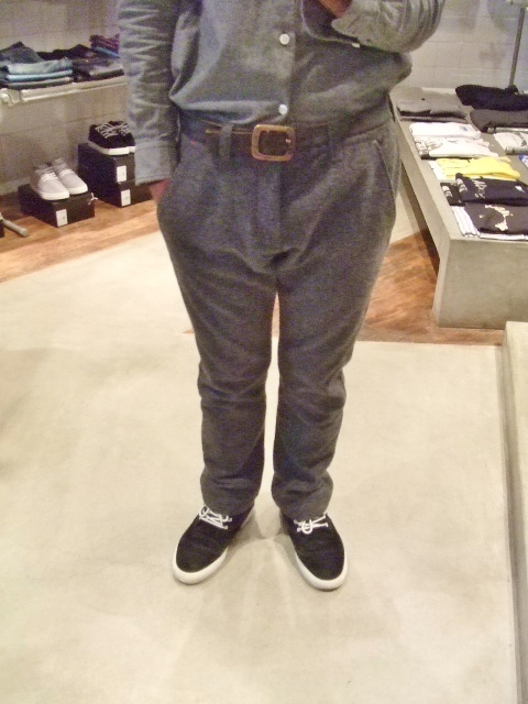 rehacer POINT LEATHER WOOL TROUSERS GRAY ST