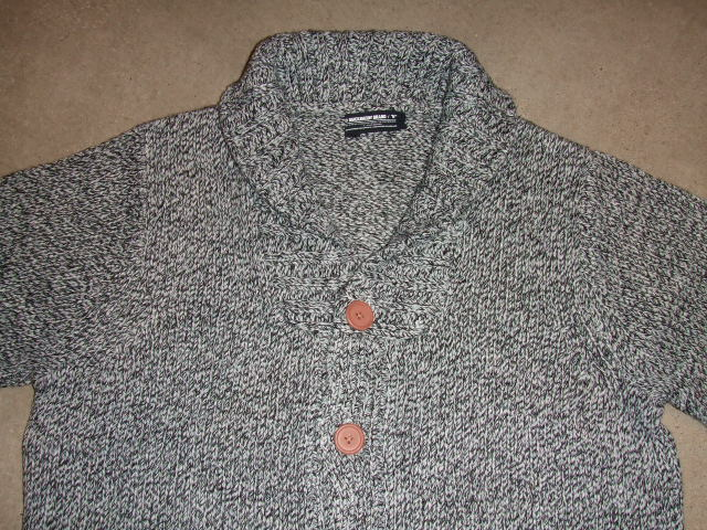 MDY SHAWL COLLAR KNIT CARDIGAN GRAY FT1