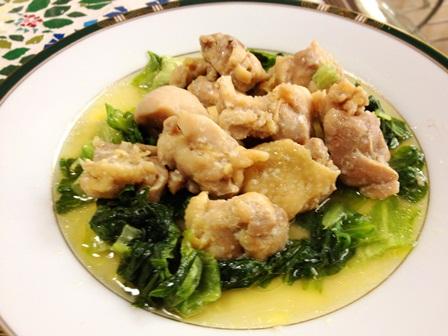 鶏とレタスの塩麹蒸し