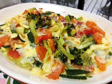 ズッキーニとトマトとブロッコリとセロリのチーズ焼き