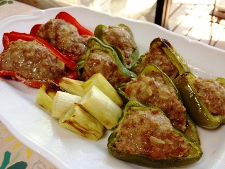 ピーマン肉詰め+焼き葱