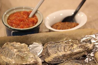 牡蠣、ミソガーリックとアラビアータソース