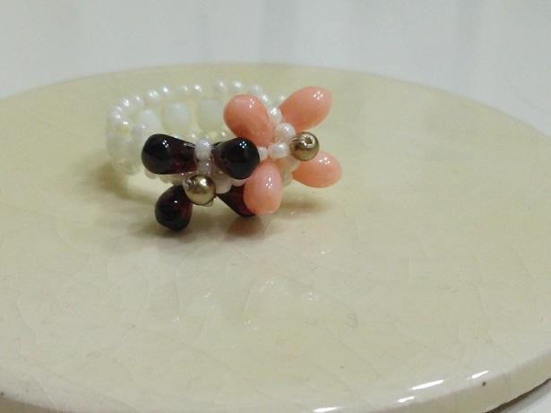 サンゴとガーネットのリング (2)