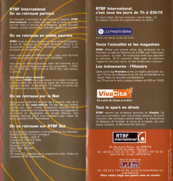 RTBF international (ベルギー・フランス語放送) 2005年夏季スケジュール表