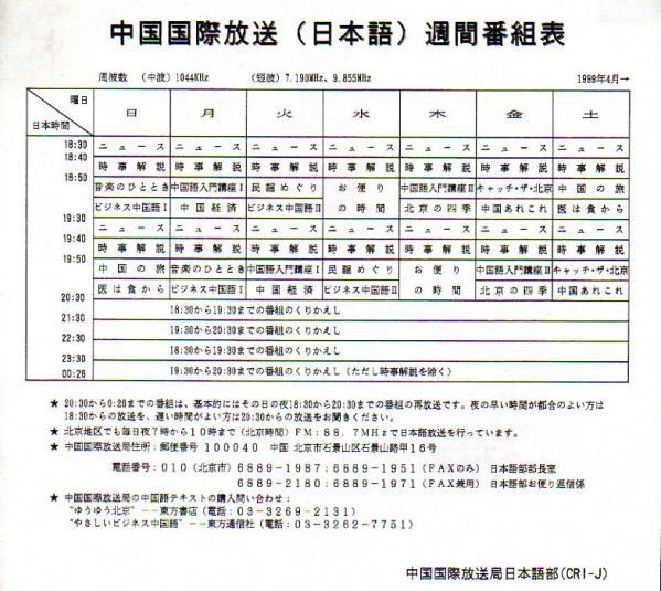 1999年4月 中国国際放送(日本語)週間番組表