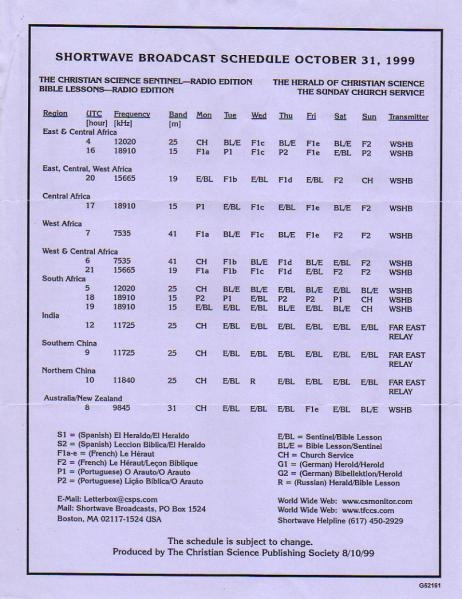 B99 1999-2000年冬季 The Christian Science Sentinel スケジュール表