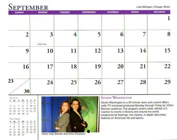 VOA Voice of America 2007 Calender SEPTEMBER 2007年VOA カレンダー 9月