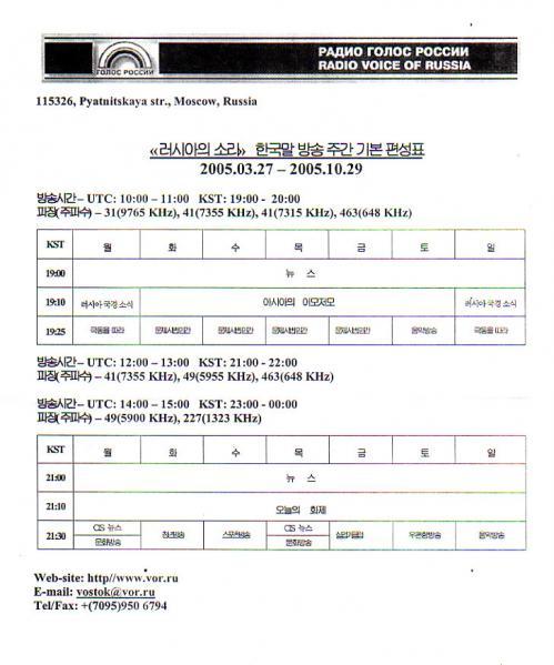 2005年夏季 ロシアの声 韓国(朝鮮)語放送 番組&放送時間周波数表