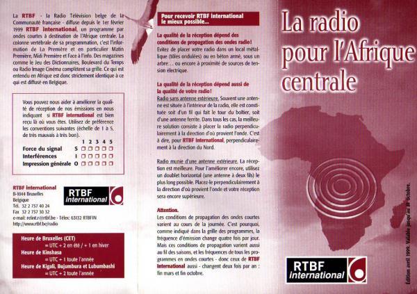 RTBF international (ベルギー・フランス語放送) 1999年夏季スケジュール表 より