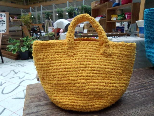 裂き編みバッグ 黄色
