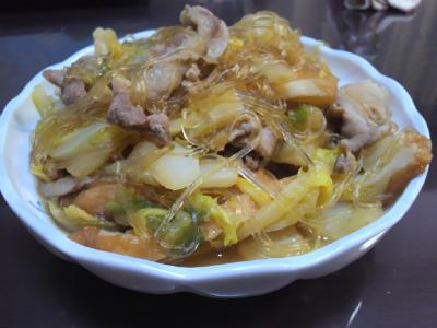 春雨入り白菜と豚肉炒め