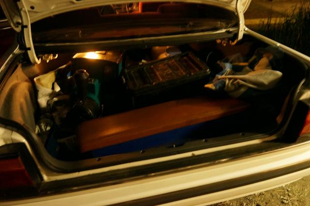 ルーチェのトランクに一式つまれたミニSL