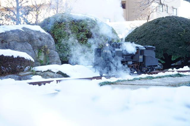 雪とミニSL C56 129 東京 残雪