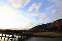 嵐山 朝日 渡月橋