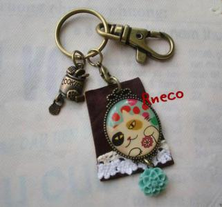 cat leather keyring