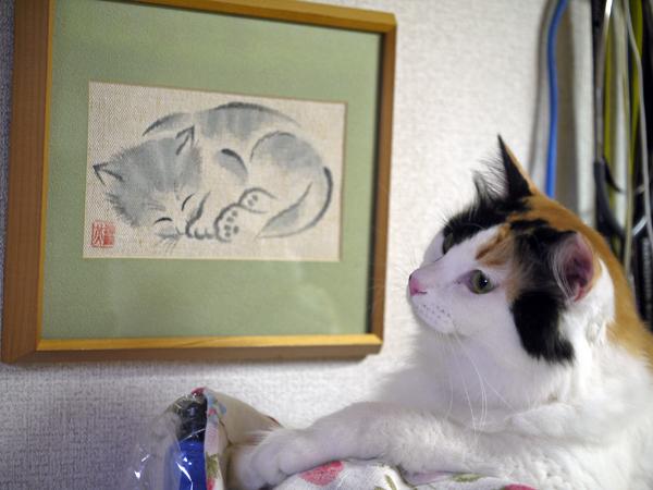 『眠り猫』伊藤光男 (布墨画)