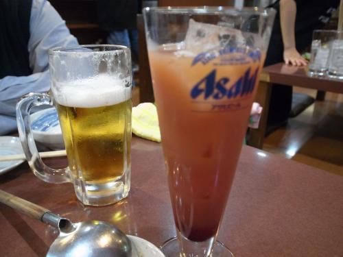 ビールとカシスグレープフルーツ
