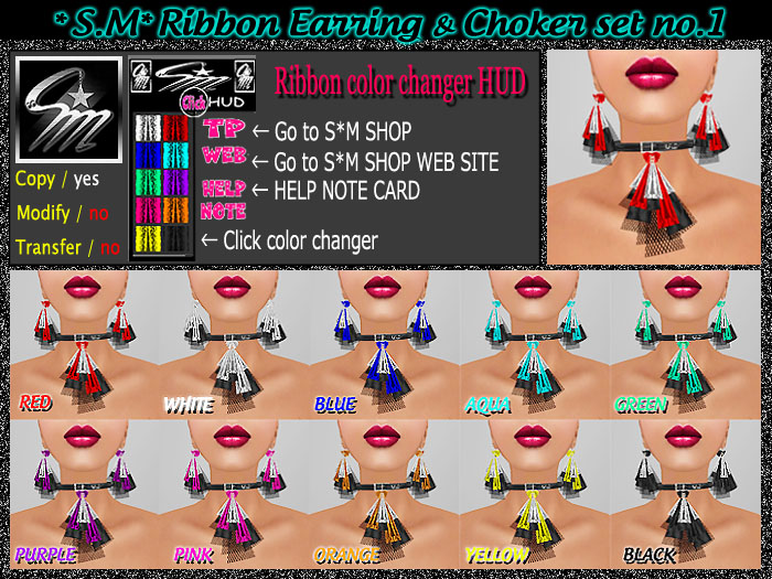 S.M Ribbon Earring Choker set no.1