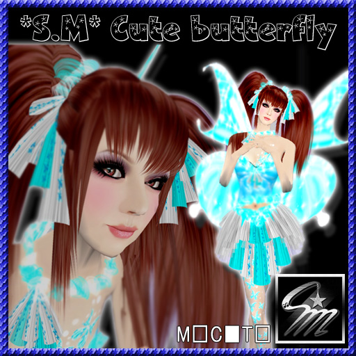 Cute butterfly_aqua