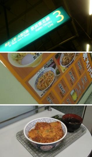 JR品川駅京浜東北線ホ-ムの立ち食い蕎麦店、品川丼。