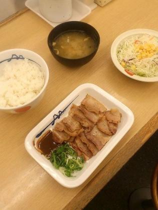 松屋、味噌漬け豚バラ焼定食2