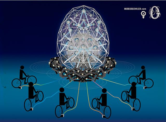 自転車で光る大きなタマゴ0(ZERO)