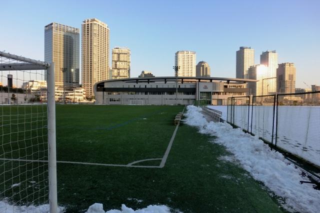 除雪した横浜マリノス練習場