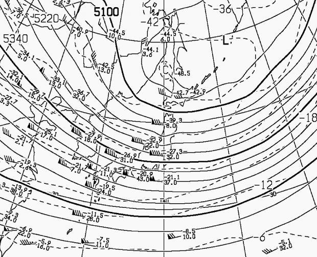 2013年2月20日21時 500hPa高度・気温
