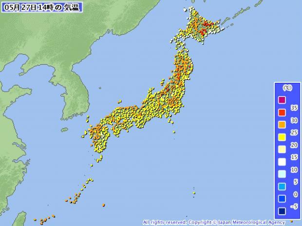 2013年5月27日14時 アメダス気温分布