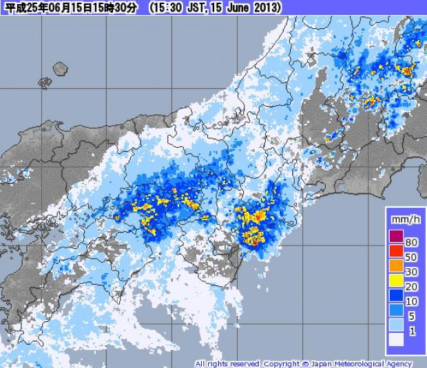 2013年6月15日14時30分 レーダー・ナウキャスト(降水・雷・竜巻):近畿地方