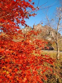 紅葉に映える妙義山
