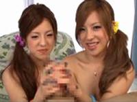 美人双子の手コキフェラから大量顔射【slutload】