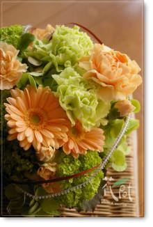 ◆京から届く「花物語」◆日常花がもっと楽しくなる 自分らしい「花のある暮らし」 京都の花屋 花pot(ポット)-母の日グリーン&パステルオレンジ