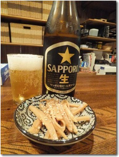 ビールとメンマ♪