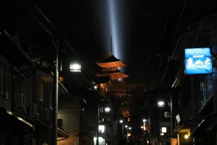 清水寺三重塔ライトアップ_H25.03.16撮影