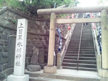上目黒氷川神社の石段見上げ_H25.04.14撮影