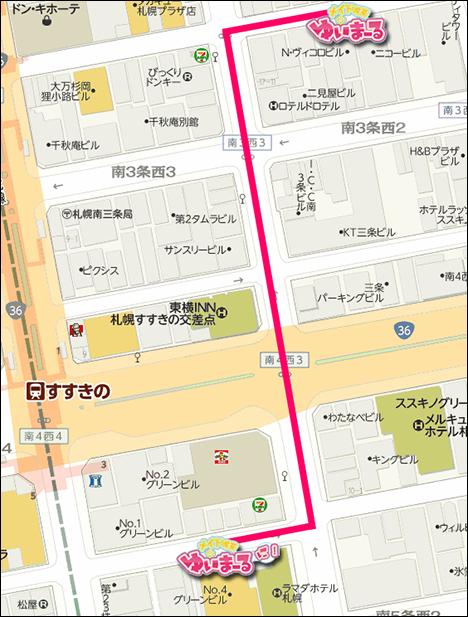 1号店⇔2号店の地図