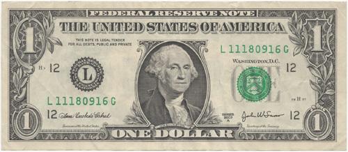 アメリカ合衆国1ドル紙幣(表面)