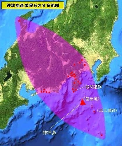 神津島産の黒曜石分布