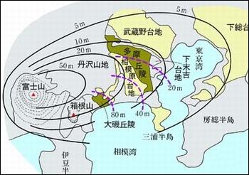 富士山・箱根火山から噴出した火山灰の等厚線図