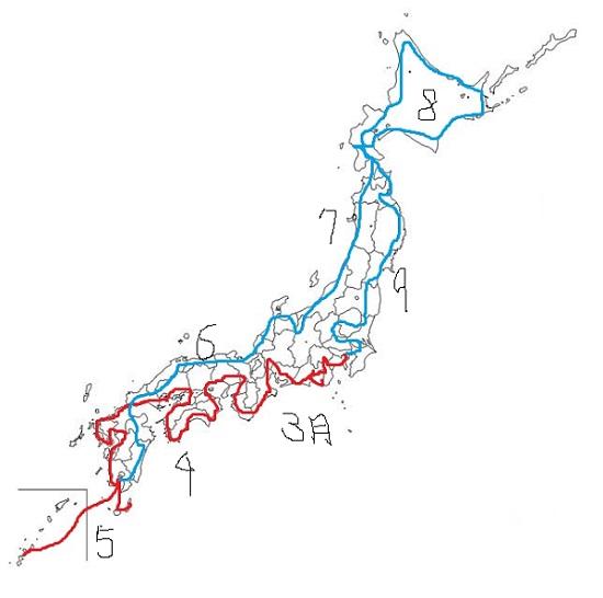 日本一周ルート