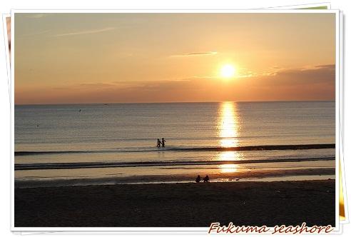 夕日が沈む、福間海岸