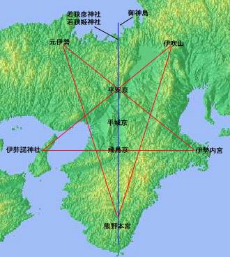 近畿に浮かび上がる謎の五芒星(^^;